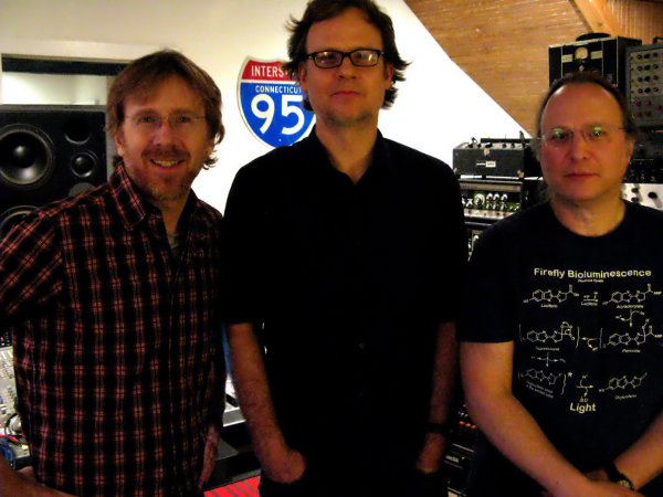 Rob Schwimmer with producer Peter Katis and Trey Anastasio working on Trey new album